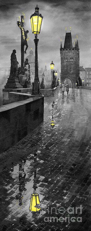 Prague Painting - BW Prague Charles Bridge 01 by Yuriy Shevchuk