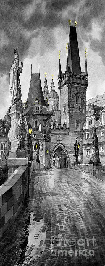 Prague Painting - Bw Prague Charles Bridge 02 by Yuriy Shevchuk