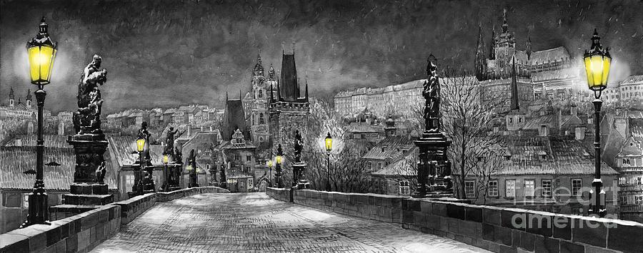 Prague Painting - BW Prague Charles Bridge 06 by Yuriy Shevchuk