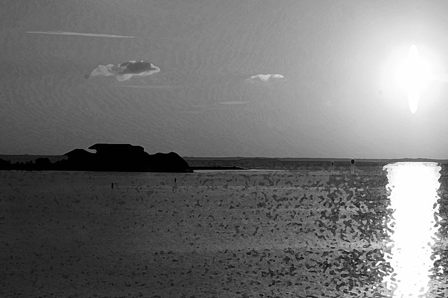 Pelican Photograph - Bw Sunset House by Michael Thomas
