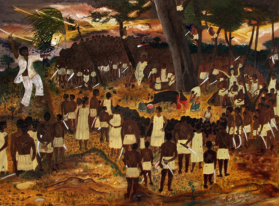 Bookman Painting - Bwa Kayiman Haiti 1791 by Nicole Jean-Louis