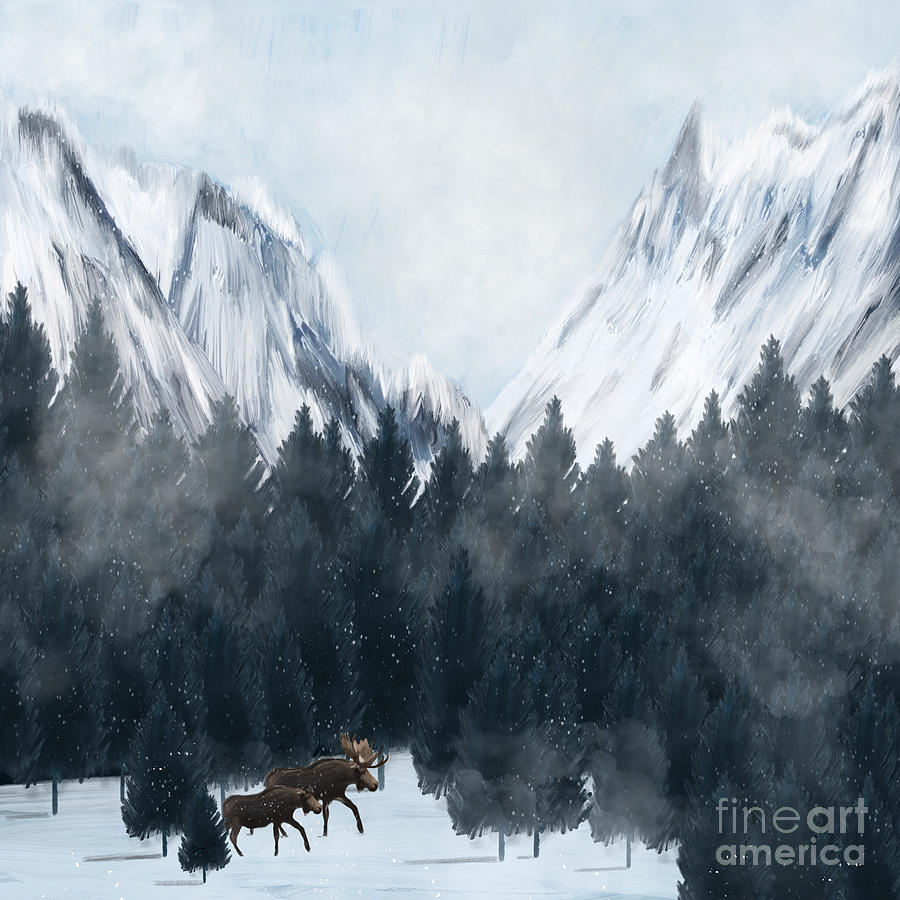 Moose Painting - By My Side by Bri Buckley