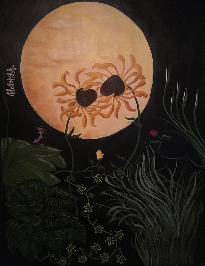 Flower Painting - By The Blessed Moon I Vow by Ron Tango Jr
