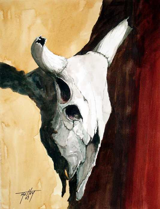 Skull Painting - By The Horns by Travis Kelley
