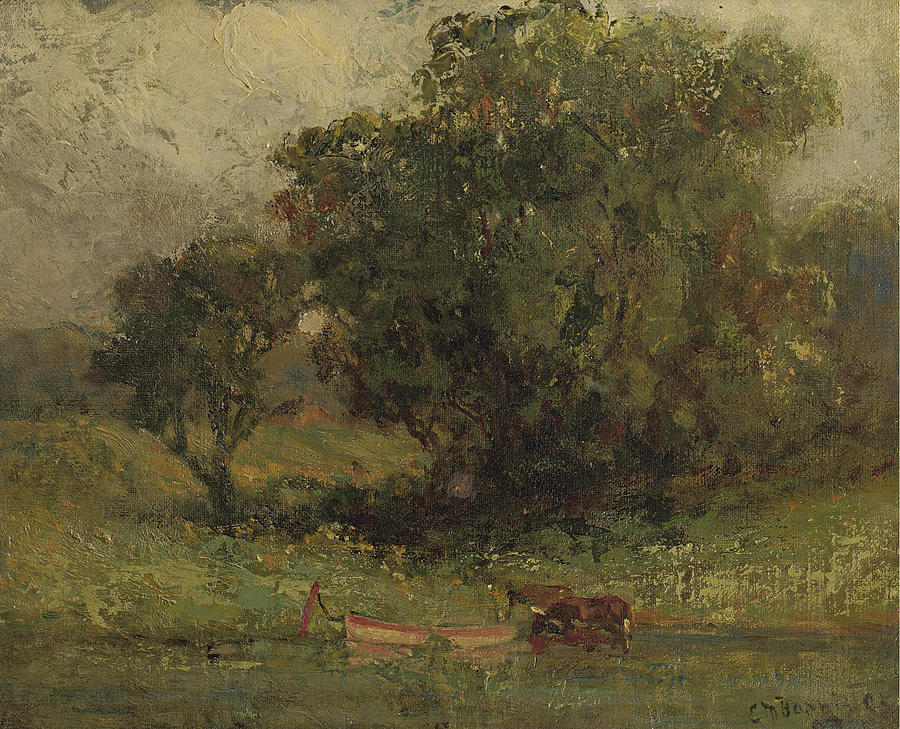 Edward Mitchell Bannister Painting - By The Lake by Edward Mitchell Bannister