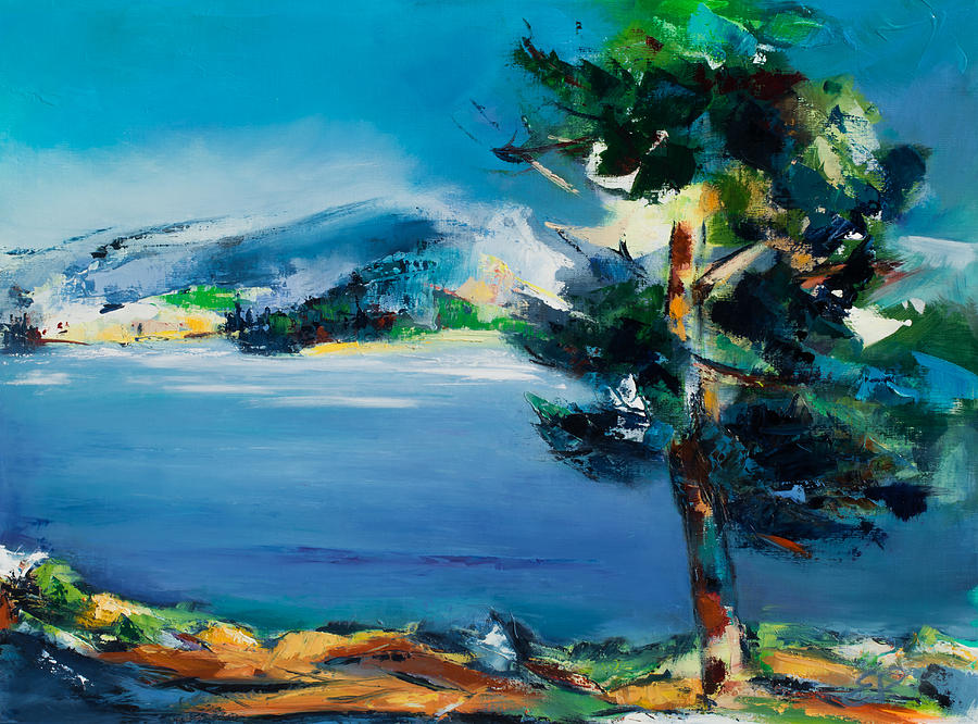 Landscape Nature Painting - By The Lake by Elise Palmigiani
