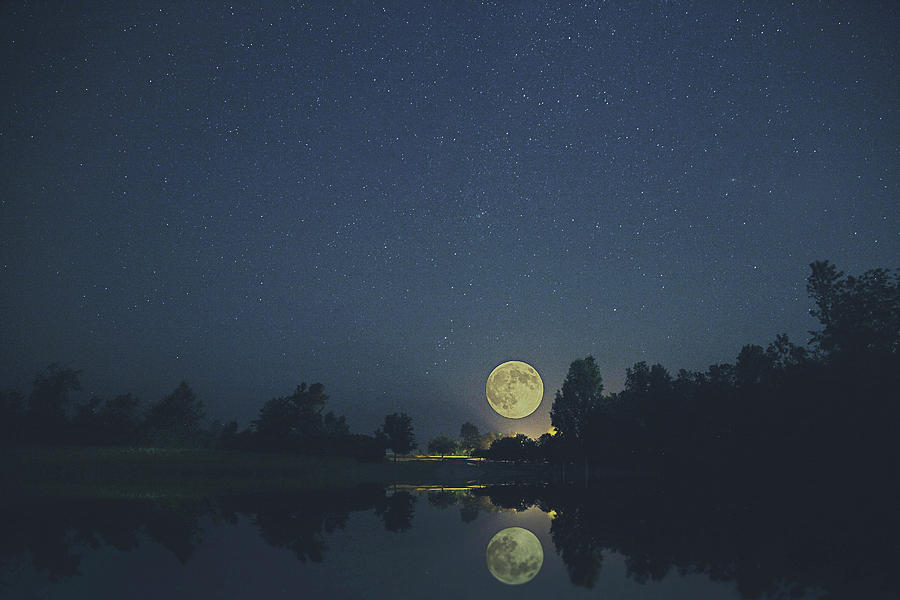 Moon Photograph - By The Light Of The Moons by Carrie Ann Grippo-Pike