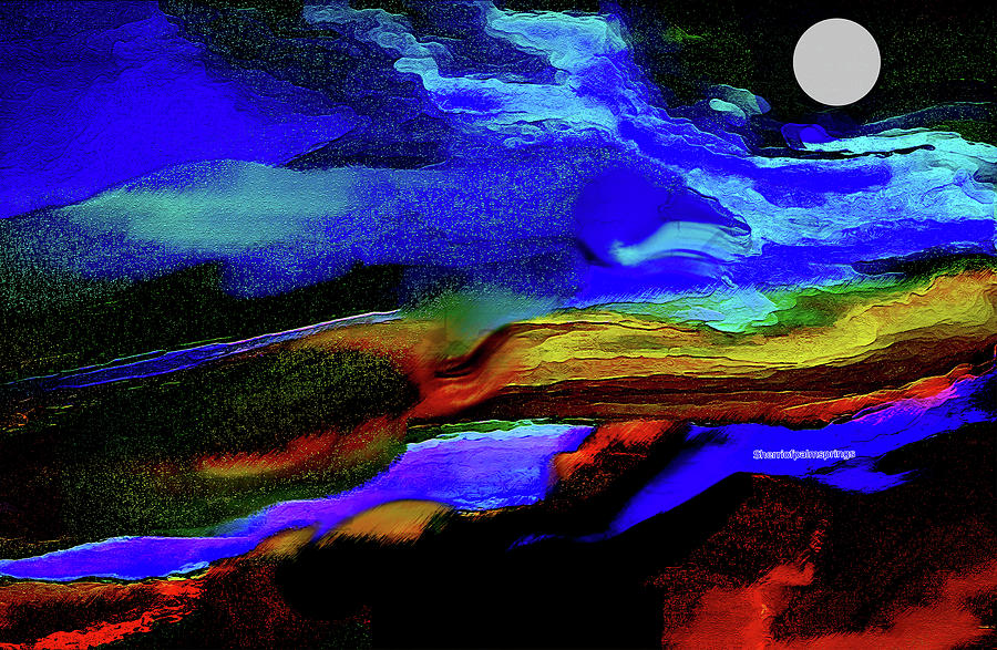 Abstract Colorful Digital Art - By The Light of The Silvery Moon by Sherris - Of Palm Springs