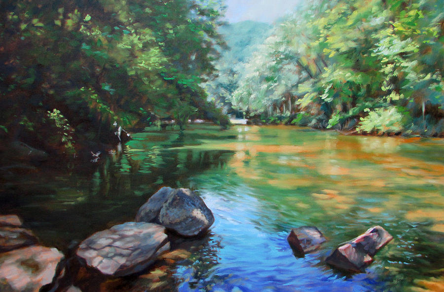 Oil Painting Painting - By The River by Bonnie Mason