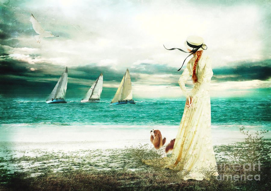 Seaside Digital Art - By The Sea by Shanina Conway