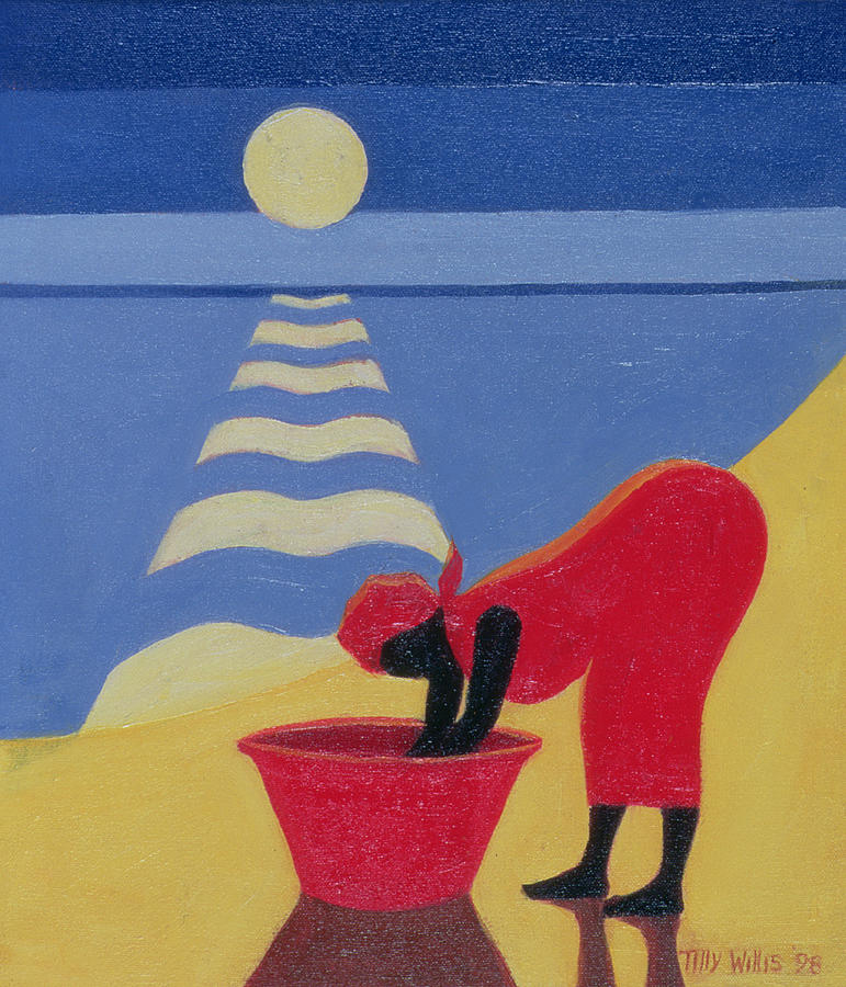 African; Africa; Beach; Sun; Laundry; Washing; Woman; Bending; Native; Basket; Red; Sunset; Sand; Sunshine; Sea; Sea Shore; Water; Female; Shadow Painting - By The Sea Shore by Tilly Willis