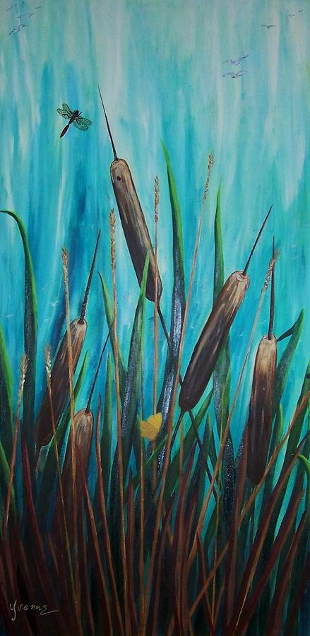 By The Shore Cat -tail Painting by Yvonne Kinney