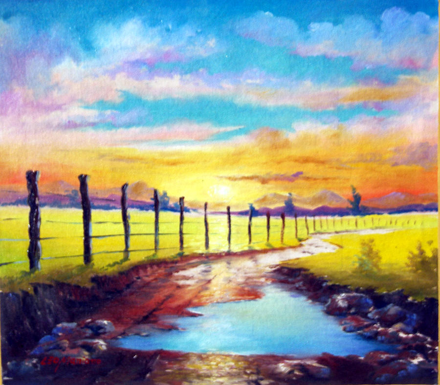 Landscape Painting - By The Sun In The Field by Leomariano artist BRASIL