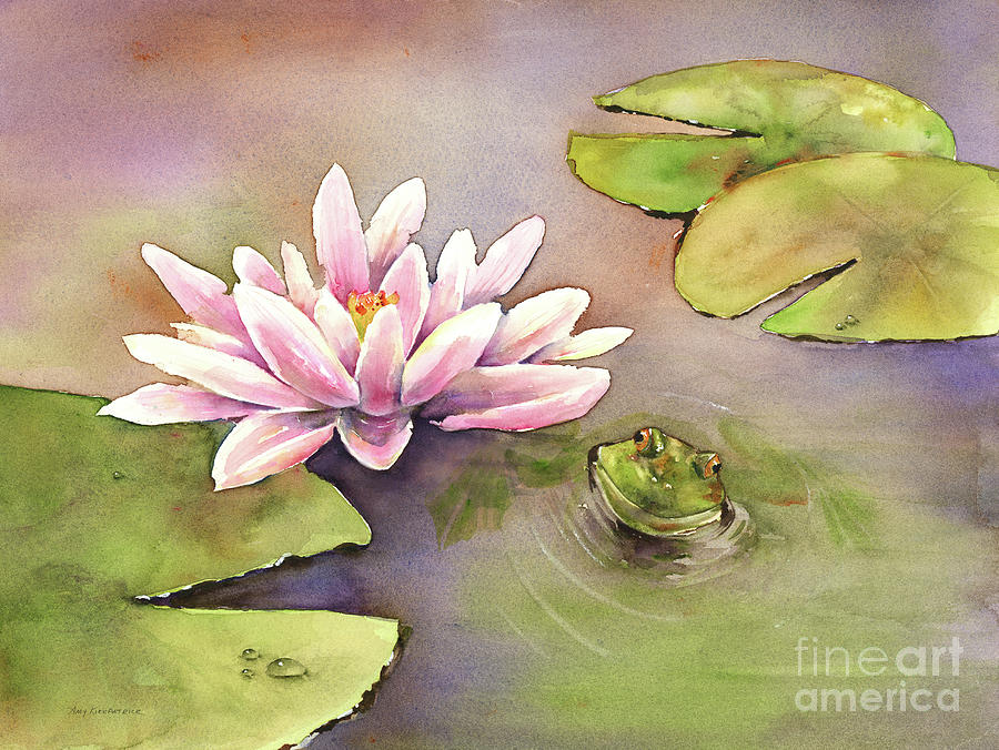 Watercolor Frog Painting - By the Waterlily by Amy Kirkpatrick
