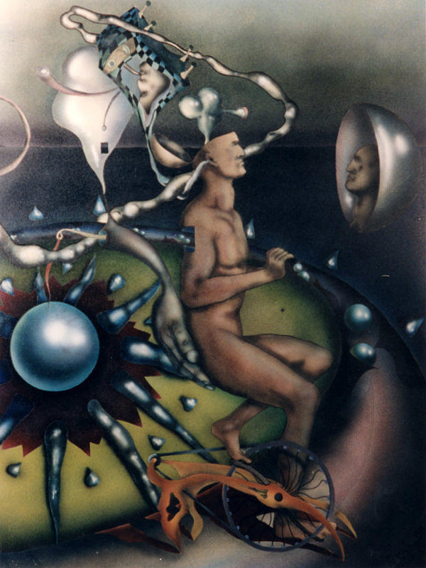 Psychedelic Paintings Painting - Bycicle Man by Henry Orszula