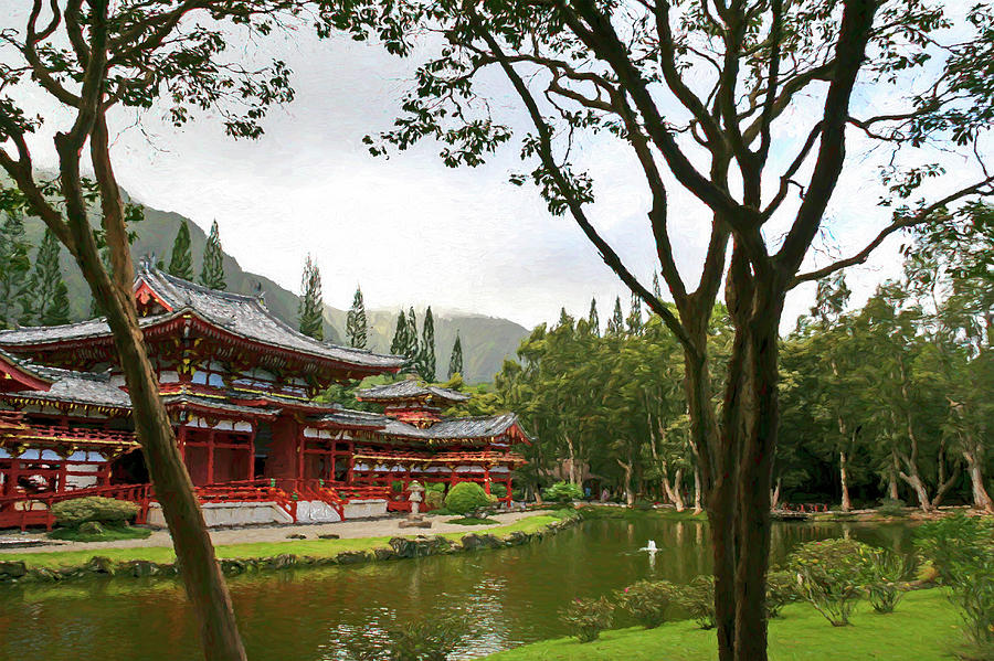 Byodo-In Temple Digital Painting by Randy Herring