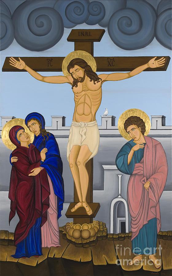 Greek Icons Painting - Byzantine Art Crucifixion  by Marinella Owens