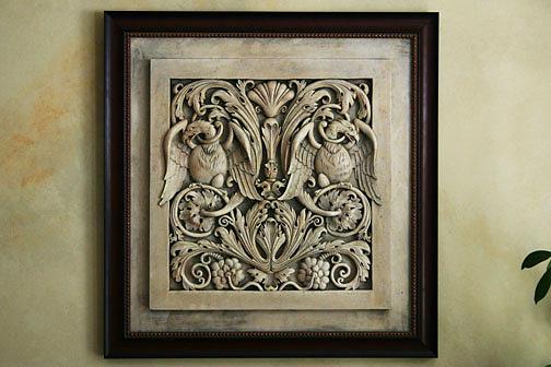 Greek Sculpture - Byzantine Eagles In Floral Motif Wall Plaque by Goran