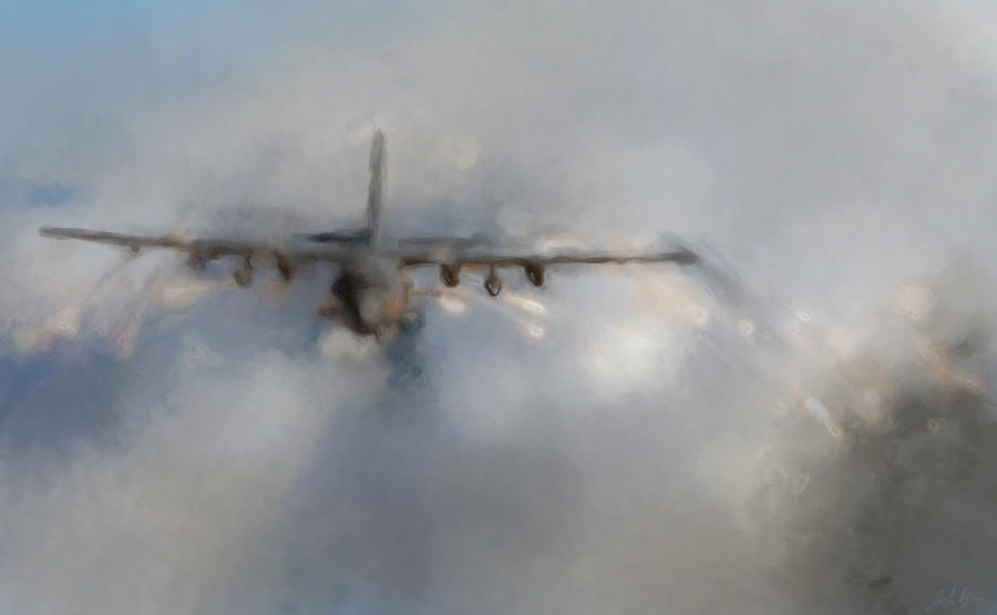 C130 Digital Art - C-130 Gunship  by John Bainter