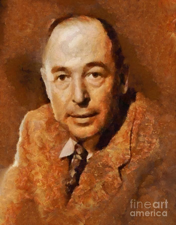 Writer Painting - C. S. Lewis, Literary Legend by Esoterica Art Agency