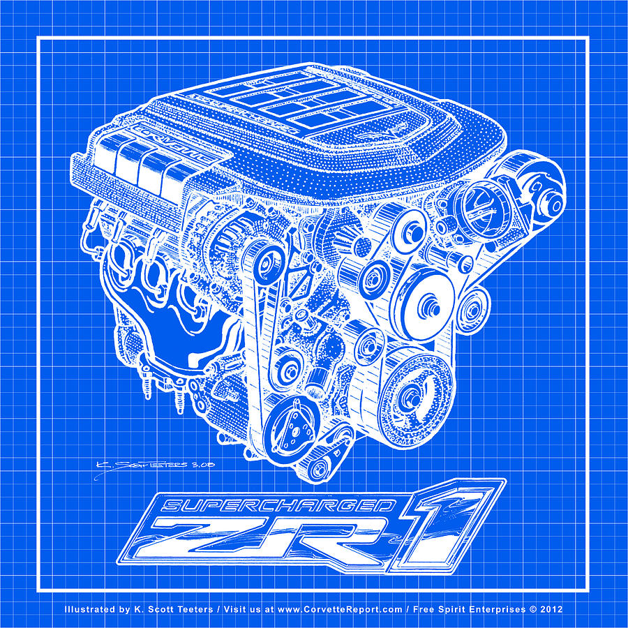 C6 zr1 corvette ls9 engine blueprint digital art by k scott teeters small block chevy digital art c6 zr1 corvette ls9 engine blueprint by k scott teeters malvernweather Gallery