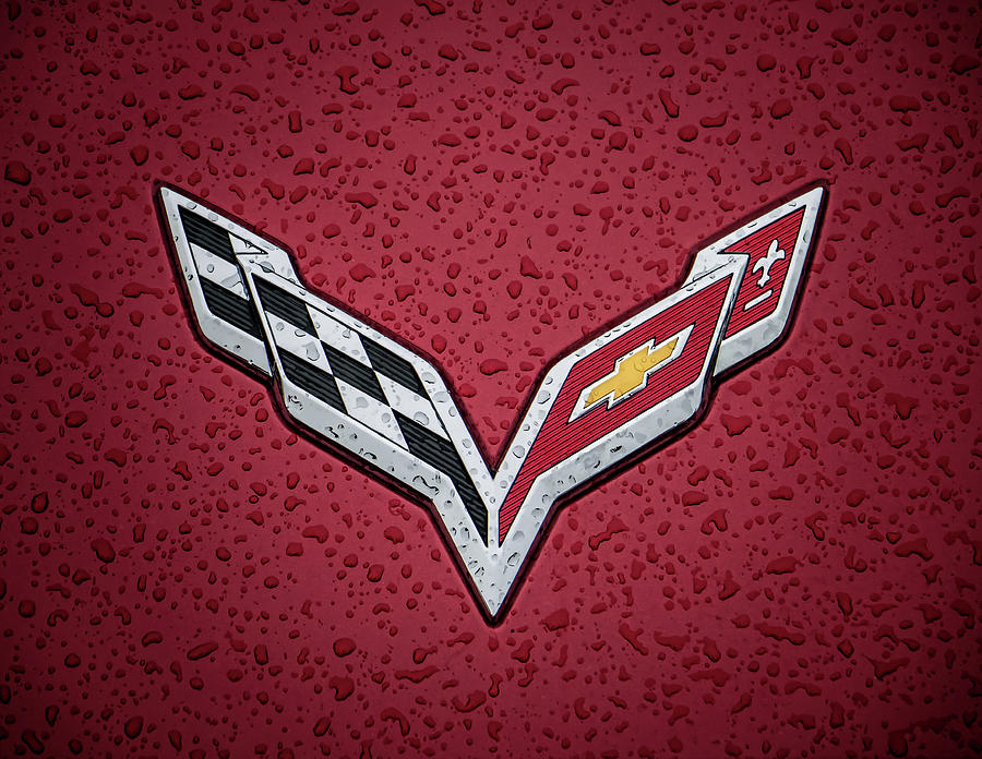 Corvette Digital Art - C7 Badge Red by Douglas Pittman