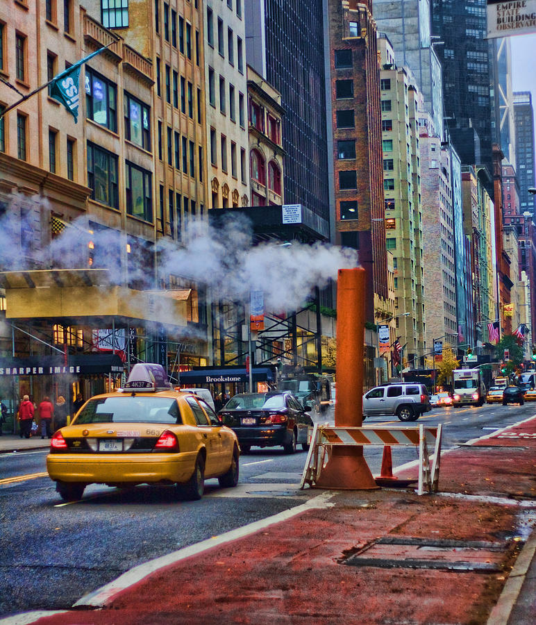 New York Taxi Street City Canvas Wall Art Picture Print Va: Cab On 57th Photograph By June Marie Sobrito