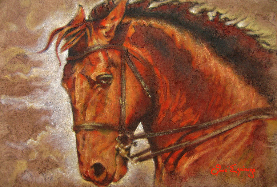 Horse Head Painting - Caballo I by J- J- Espinoza