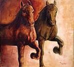 Caballo Rojo Caballo Verde Painting by Nini Larranaga