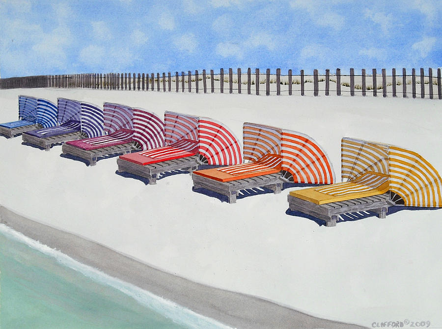 Beach Painting - Cabana Lounges by Cory Clifford