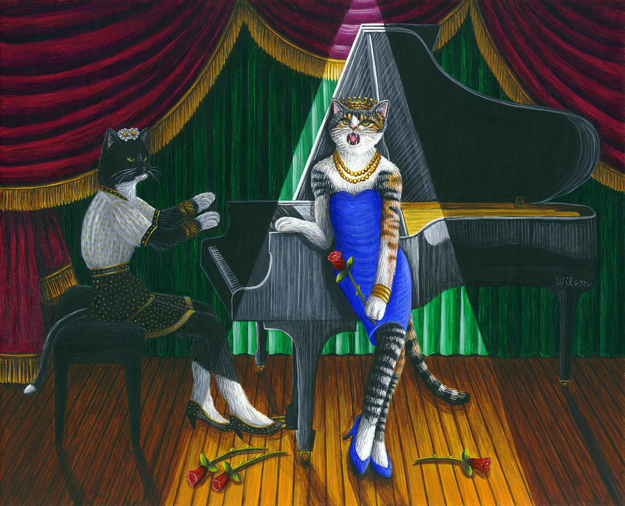 Cabaret Painting - Cabaret Cats by Carol Wilson