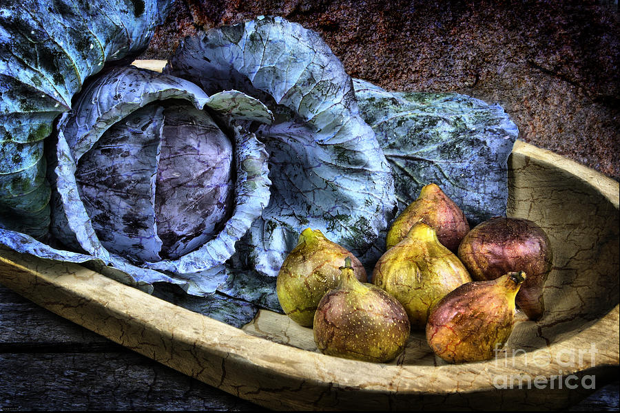 Still Life Photograph - Cabbage And Figs by Sari Sauls