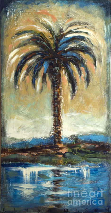 Palm Painting - Cabbage Palm Antiqued by Linda Olsen