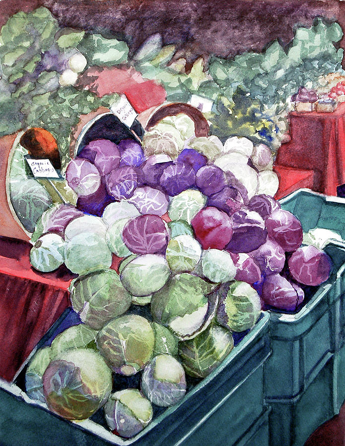 Cabbages Painting - Cabbage Patch by Lynne Atwood