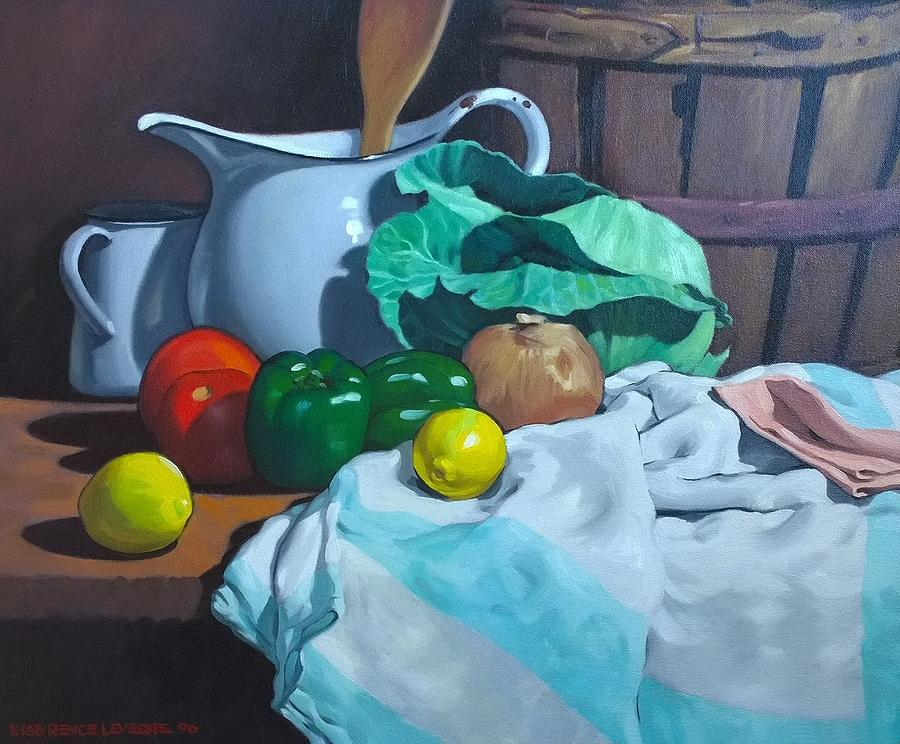 Original Oil Painting Painting - Cabbage3 by Kevin Lawrence Leveque