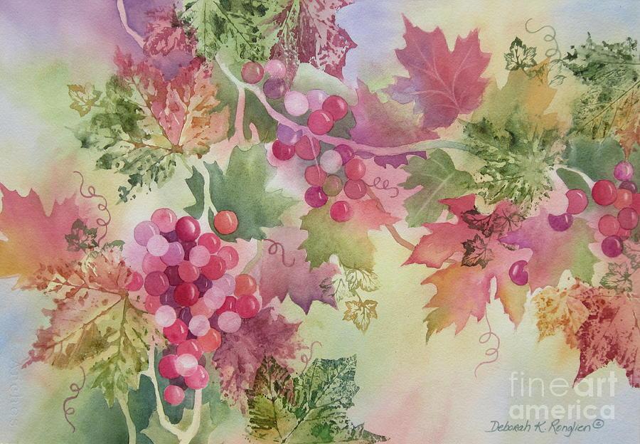 Grapes Painting - Cabernet by Deborah Ronglien