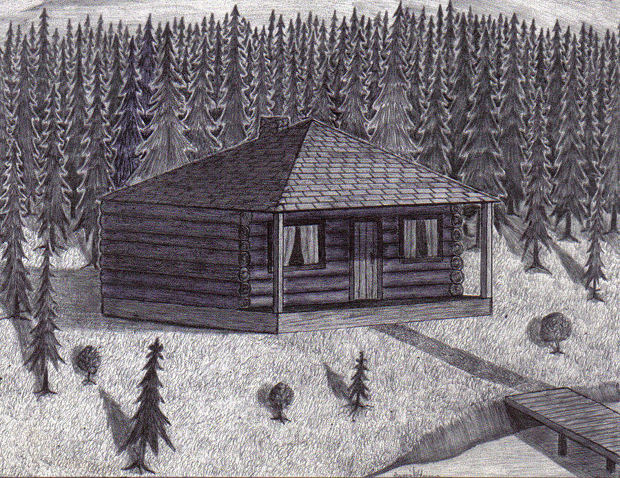Cabin Drawing - Cabin By The Lake by David Flower
