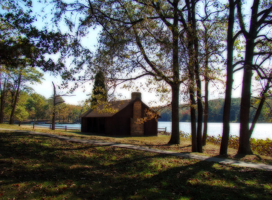 Cabin Photograph - Cabin By The Lake by Sandy Keeton
