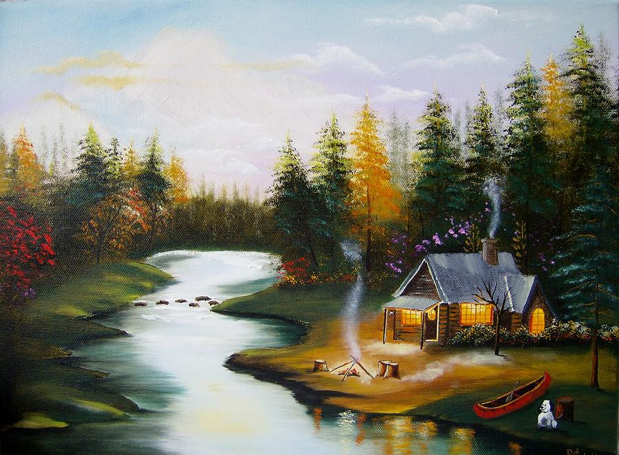 Cabin By The River Painting By Debra Campbell