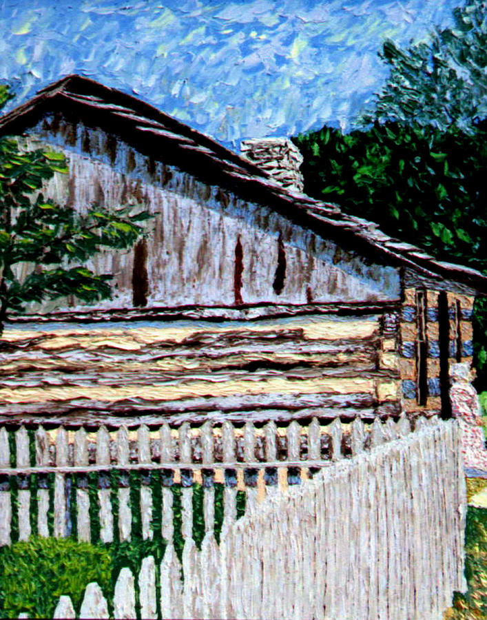 Log Cabin Painting - Cabin In Knife by Stan Hamilton