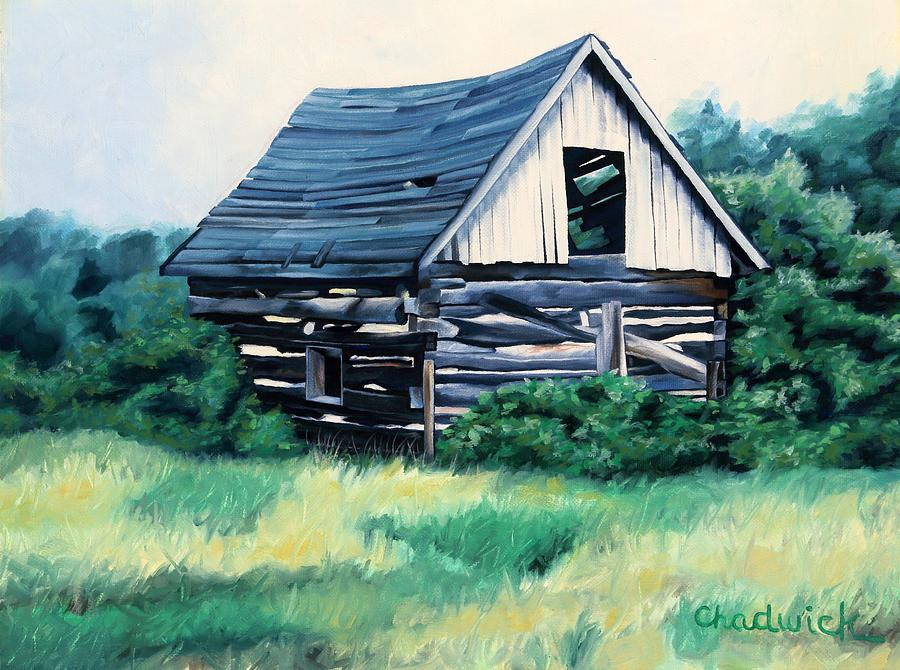 91 Painting - Cabin In The Clearing by Phil Chadwick