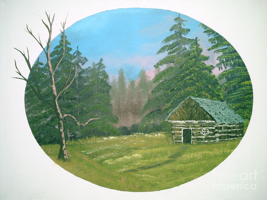 Landscape Painting - Cabin In The Meadow by Jim Saltis