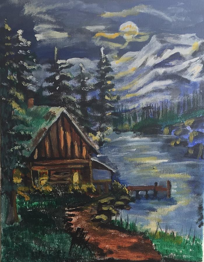 Cabin Painting - Cabin In The Mountains by Julie Thomas-Zucker
