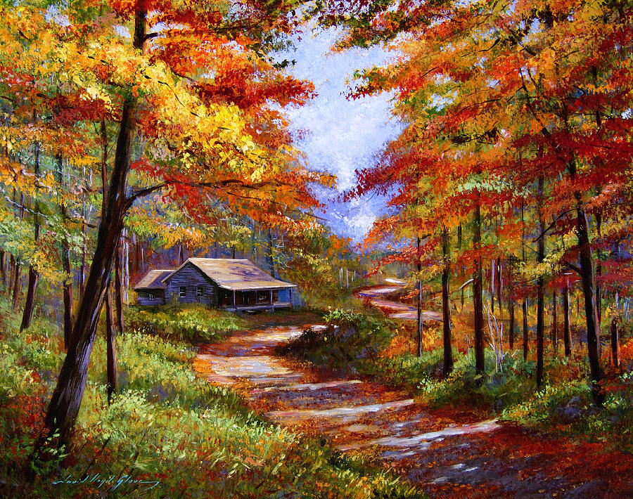 Fall Painting - Cabin In The Woods by David Lloyd Glover