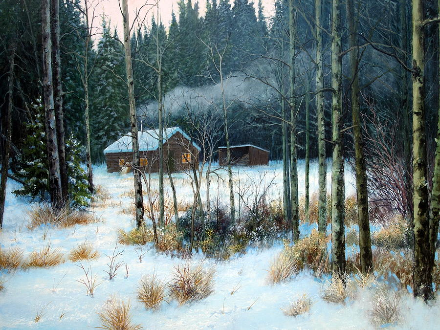Cabin Painting - Cabin In The Woods by E Colin Williams ARCA