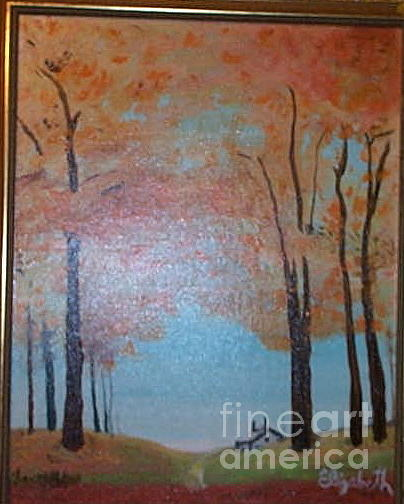 Fall Season Painting - Cabin In The Woods by Elizabeth A Gawronski