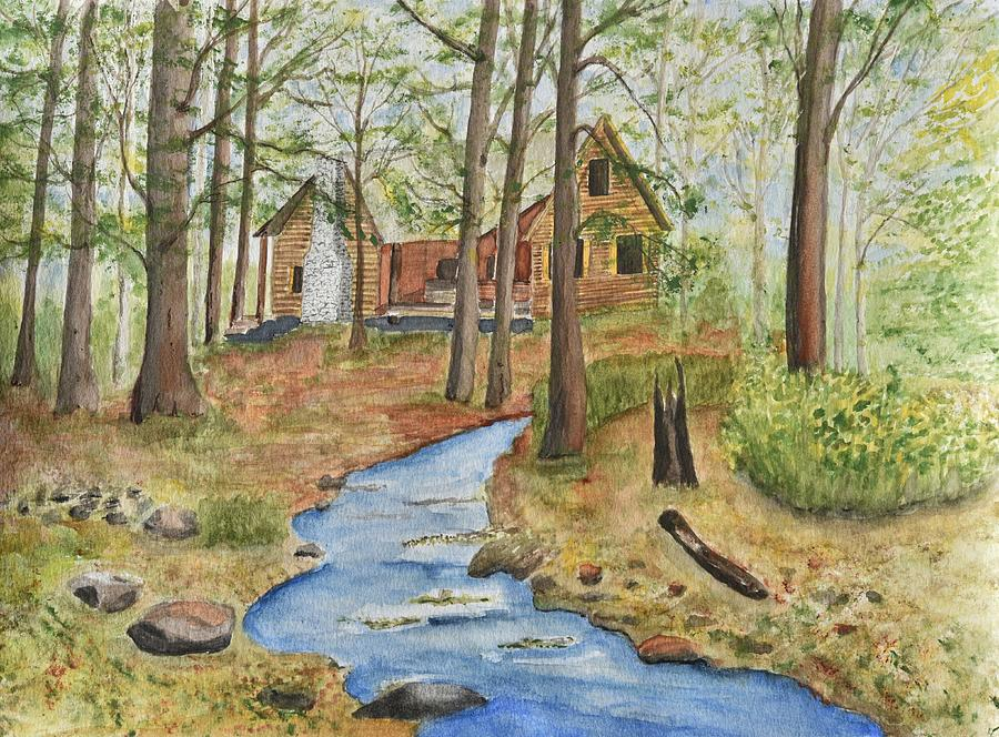 Cabin In The Woods Painting By Linda Brody