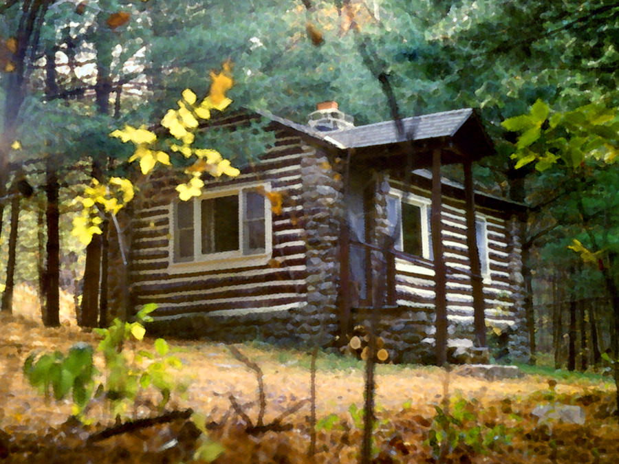 Cabin in the woods painting by paul sachtleben for Log cabin painting
