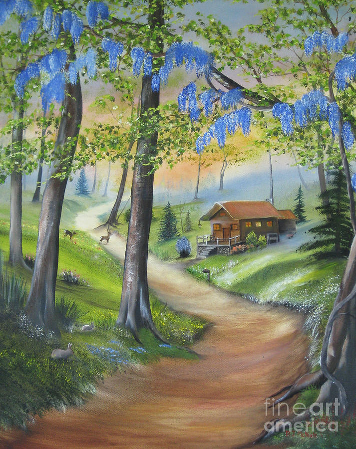Landscape Painting - Cabin In The Woods by RJ McNall