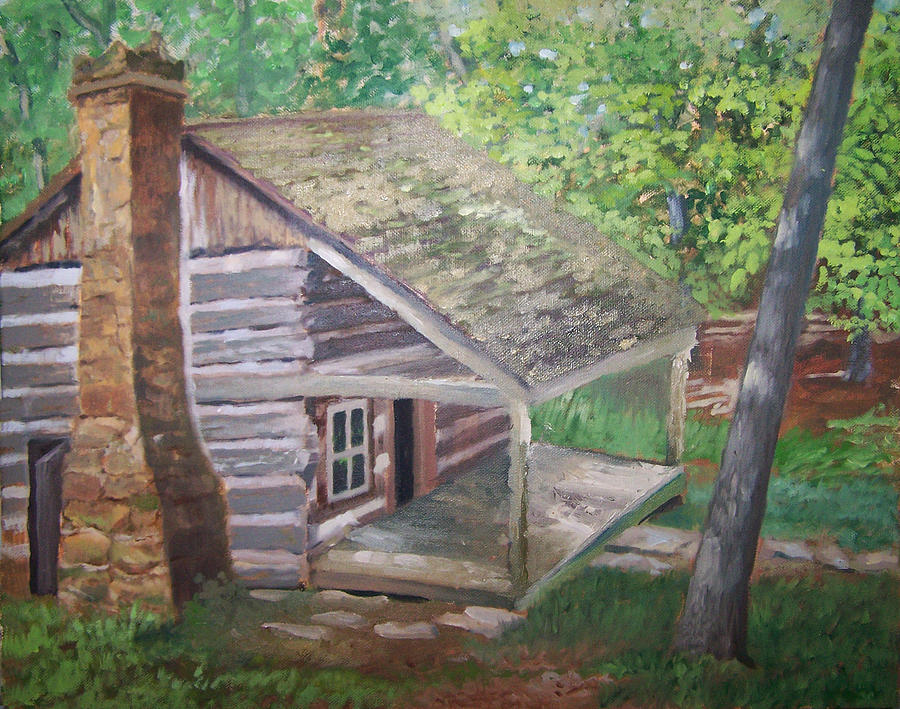Log Cabin Painting - Cabin In The Woods by Ron Bowles